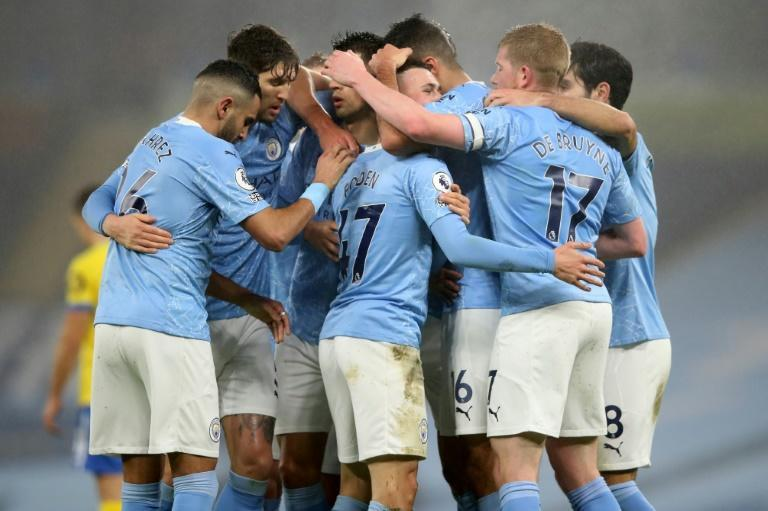 Manchester City celebrate Phil Foden's goal against Brighton