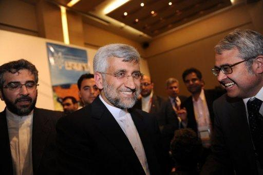 Iran's chief nuclear negotiator Said Jalili leaves after a press conference in Istanbul. Iran and world powers agreed in nuclear talks Saturday to hold a more in-depth meeting in Baghdad on May 23 where, the EU's foreign policy chief warned Tehran, concrete results must be achieved