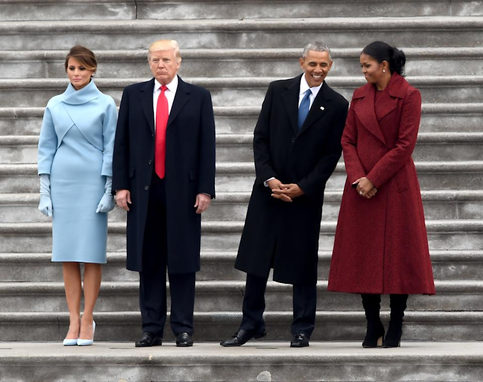 The Trumps and the Obamas at Donald Trump's inauguration.AFP via Getty Images