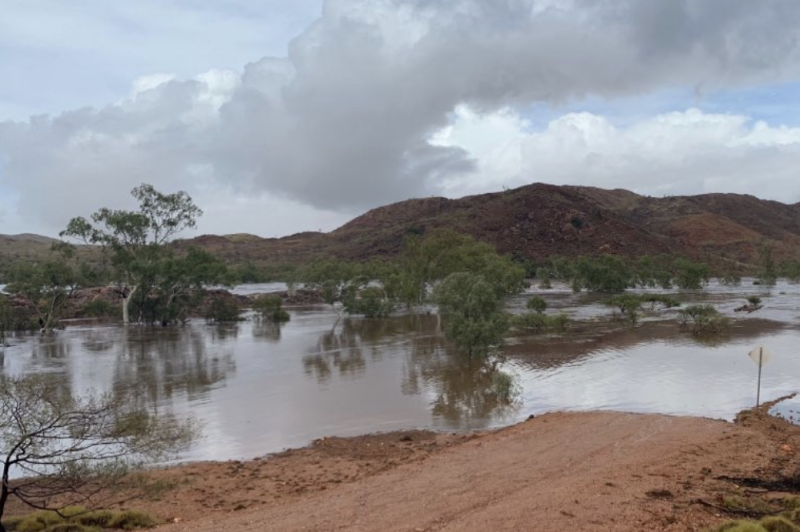 An area near Marble Bar in the Pilbara north of Nullagine where rain has risen water levels. Source: Marble Bar Police