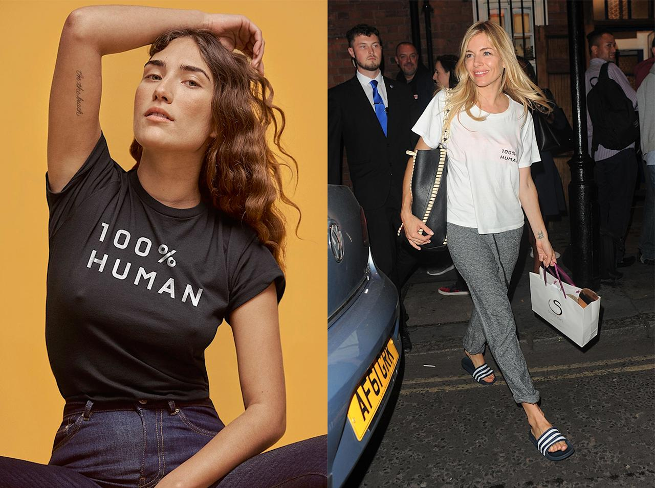 "<p>Everlane's ""100% Human"" T-shirts and other products give $5 from the purchase of each item to the American Civil Liberties Union. (Photo: Everlane; Backgrid) </p>"