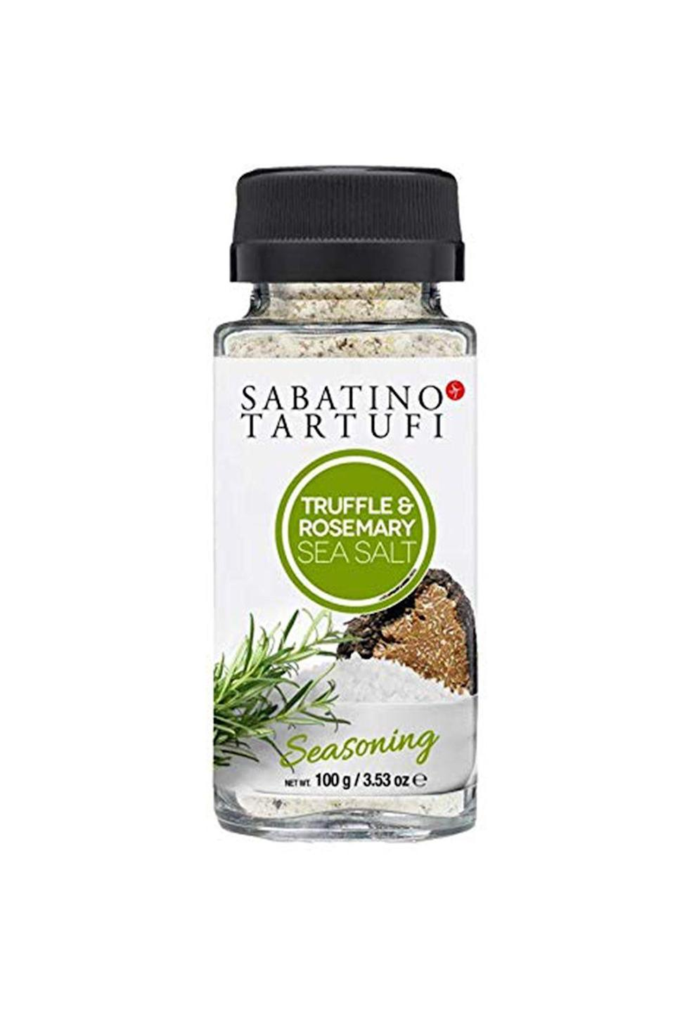 """<p><strong>Sabatino Tartufi</strong></p><p>amazon.com</p><p><strong>$12.75</strong></p><p><a href=""""https://www.amazon.com/dp/B0793BYC1P?tag=syn-yahoo-20&ascsubtag=%5Bartid%7C10072.g.36429980%5Bsrc%7Cyahoo-us"""" rel=""""nofollow noopener"""" target=""""_blank"""" data-ylk=""""slk:Shop Now"""" class=""""link rapid-noclick-resp"""">Shop Now</a></p><p>Love all things truffle? So does Oprah—which is exactly why she put this decadent blend of Sicilian sea salt, black truffle, and rosemary on her 2017 Oprah's Favorite Things List. """"I took the truffle and rosemary sea salt out of my bag at a restaurant, and the waiter asked, 'You travel with that?' I said, 'Do you have it here?'"""" A dash of the earthy delight will turn any ordinary dish (think: steak, seafood, eggs, and vegetables) into something extraordinary.<br></p>"""