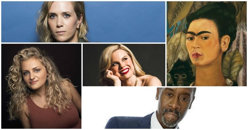 Clockwise from top: Kristen Wiig, Frida Kahlo in a self-portrait, Don Cheadle, Ali Stroker and, in the center, Megan Hilty.