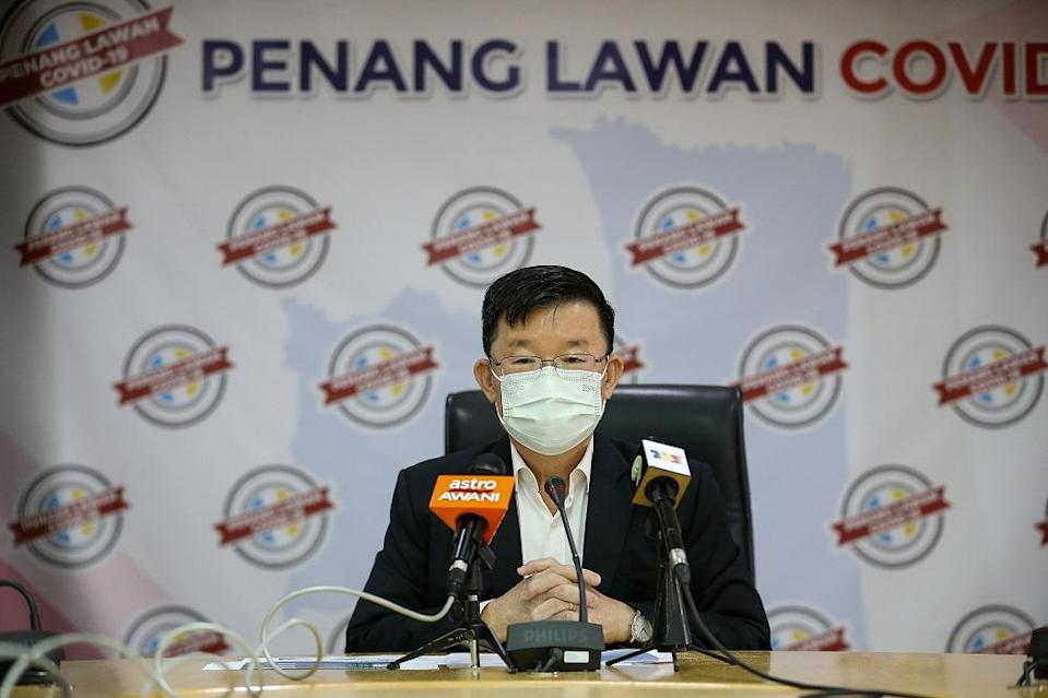Penang Chief Minister Chow Kon Yeow speaks at a press conference in George Town May 3, 2021. — Picture by Sayuti Zainudin