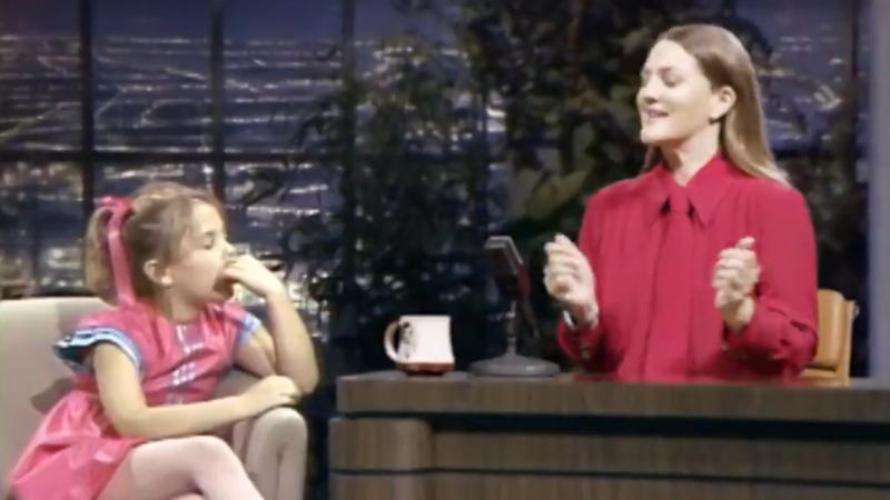 Drew Barrymore interviews herself in a clip posted to social media. (Credit: Twitter/The Drew Barrymore Show)