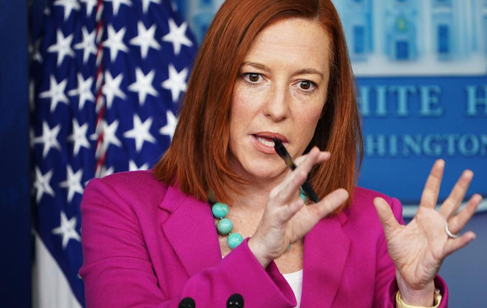 White House Press Secretary Jen Psaki speaks during a press briefing on January 28, 2021, in the Brady Briefing Room of the White House in Washington, DC. (Mandel Ngan/AFP via Getty Images)