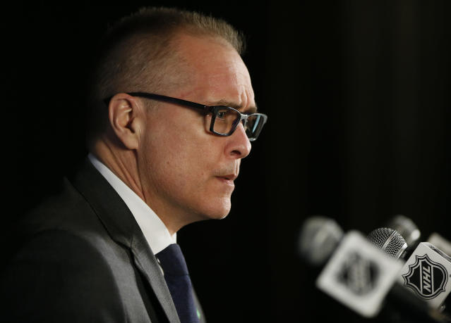 Winnipeg Jets coach Paul Maurice talks to reporters after Game 1 of the NHL hockey playoffs Western Conference finals, Saturday, May 12, 2108, in Winnipeg, Manitoba. The Jets defeated the Vegas Golden Knights 4-2. (John Woods/The Canadian Press via AP)