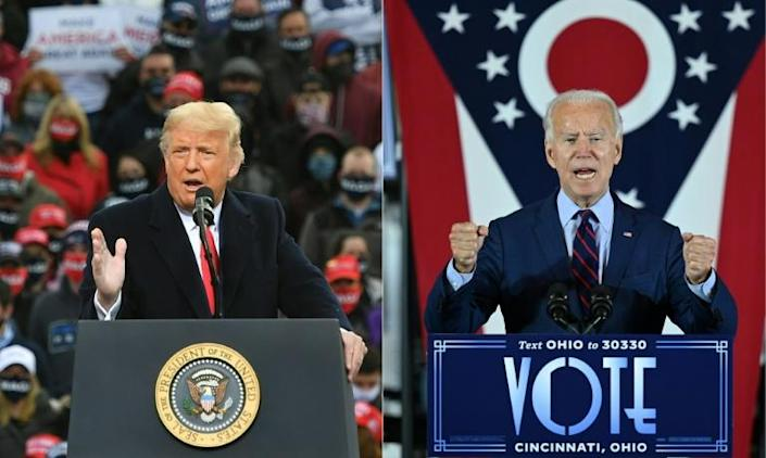 Misleading claims by both President Donald Trump (L) and his Democratic rival Joe Biden have been circulating on controversial issues