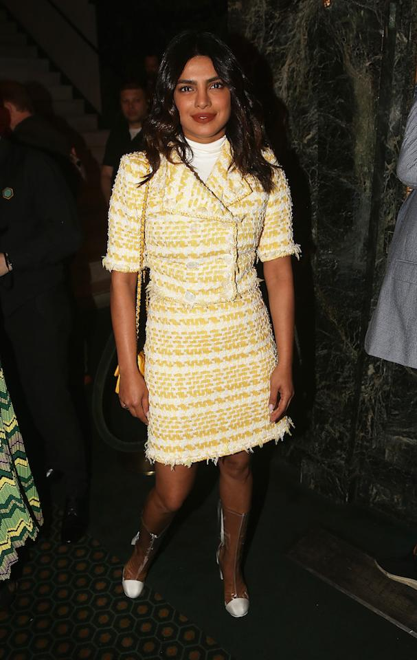 <p>The actress chose a chic Chanel co-ord in spring-ready lemon for a play opening night on April 15. <em>[Photo: Getty]</em> </p>