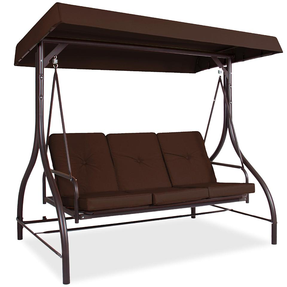 <p>Get a head start on revamping your backyards for the warmer months with the <span>Best Choice Products 3-Seat Converting Outdoor Patio Canopy Swing Hammock - Brown</span> ($260, originally $300).</p>