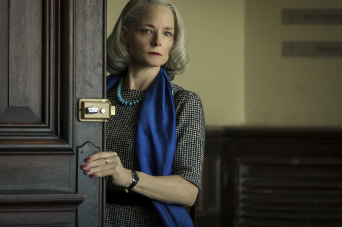 """This image released by STXfilms shows Jodie Foster in """"The Mauritanian."""" Foster accepted the award for best supporting actress in a motion picture at the Golden Globe Awards on Sunday, Feb. 28, 2021. (Graham Bartholomew/STXfilms via AP)"""