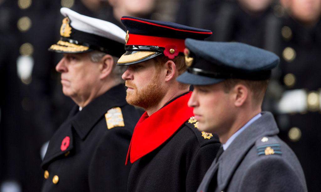 <p>Prince Harry, 33, appeared alongside his father, Prince Charles, and his brother, Prince William, at the Cenotaph in London, England on Remembrance Day to lay their wreaths. Although Harry looked dapper in the uniform of a Captain in the Household Cavalry's Blues and Royals, he broke one major rule by wearing a full beard while on official duty in a British Army uniform … <em>(Photo: Getty)</em> </p>