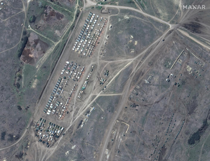 This image provided by Maxar Technologies shows overview of troop tents in Angarsky training area at the Black Sea coast of Crimea on Thursday, April 15, 2021. Russia has insisted that it has the right to restrict foreign naval ships' movement off Crimea, rejecting Ukrainian complaints and Western criticism. Ukraine last week protested the Russian move to close broad areas of the Black Sea near Crimea to foreign navy ships and state vessels until November. (Satellite image ©2021 Maxar Technologies via AP)