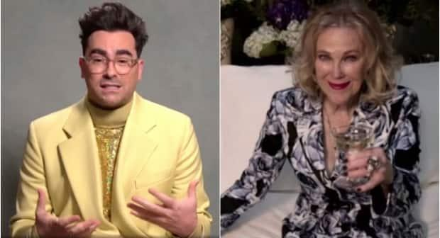 Schitt's Creek co-creator Dan Levy, accepted the Golden Globe for best TV comedy on Sunday, while Catherine O'Hara won the award for best actress. (NBC/The Associated Press, NBC/Reuters - image credit)