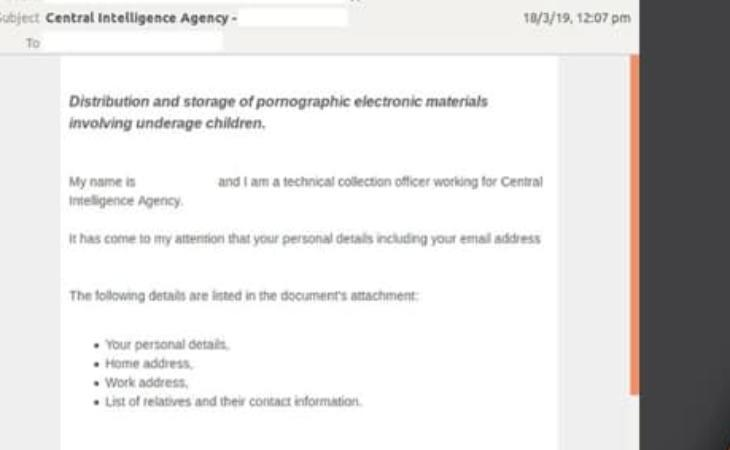CIA scam email. (Image: Australian Cyber Security Centre)