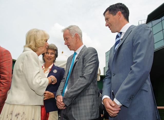 LONDON, ENGLAND - JUNE 27: Camilla, Duchess of Cornwall meets (L-R) former tennis players Virginia Wade, John McEnroe and Tim Henman during day four of the Wimbledon Lawn Tennis Championships at the All England Lawn Tennis and Croquet Club on June 27, 2013 in London, England. (Photo by Dominic Lipinski - WPA Pool/Getty Images)