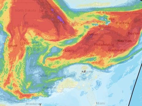 A National Oceanic and Atmospheric Administration map showing vertically integrated smoke originating from wildfires wafting over the central and eastern US.  (National Oceanic and Atmospheric Administration)