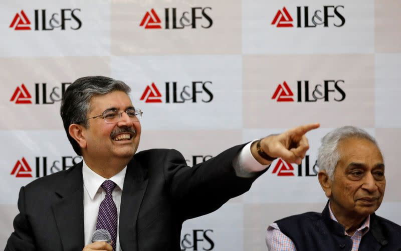 FILE PHOTO: IL&FS chairmen attend news conference at the company's headquarters in Mumbai