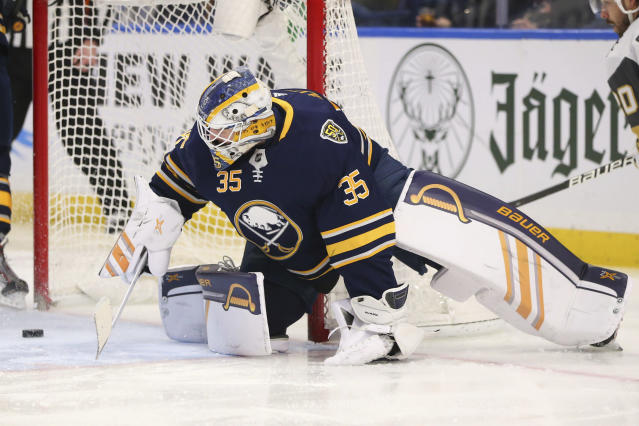 Buffalo Sabres goalie Linus Ullmark (35) watches the puck go in the net during the second period of an NHL hockey game against the Vegas Golden Knights, Tuesday, Jan. 14, 2020, in Buffalo, N.Y. (AP Photo/Jeffrey T. Barnes)
