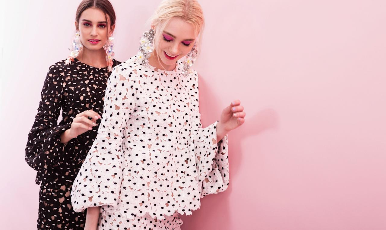 <p>Available on Zalora Singapore, this year's Hari Raya collection by Lubna features floral embroidery in monochrome. (Photo: Zalora Singapore) </p>