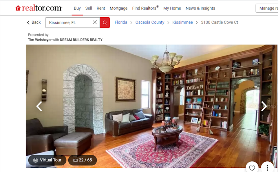The castle has a library with floor-to-ceiling bookshelves.