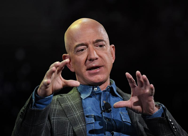 Amazon Founder and CEO Jeff Bezos addresses the audience during a keynote session at the Amazon Re:MARS conference on robotics and artificial intelligence at the Aria Hotel in Las Vegas, Nevada on June 6, 2019. (Photo by Mark RALSTON / AFP) (Photo credit should read MARK RALSTON/AFP via Getty Images)