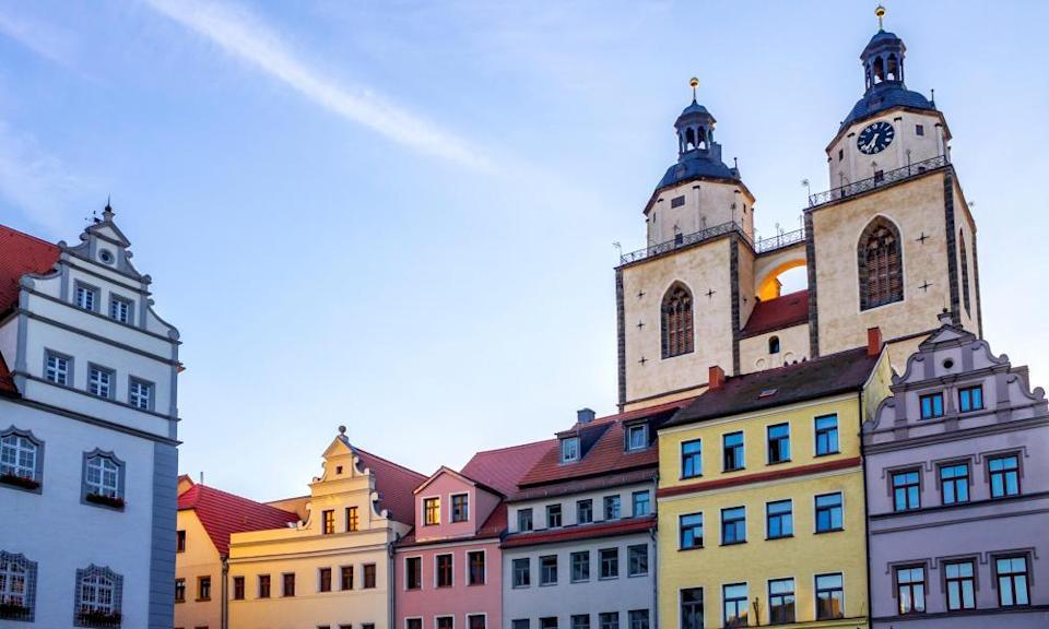 Town hall, period houses and St Mary's Church, Lutherstadt Wittenberg.