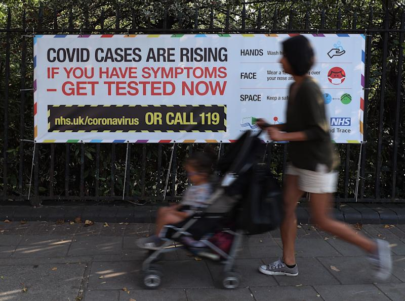 A public information sign warning of rising Covid-19 cases in London (Photo: PA)