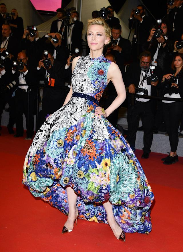 <p>For her red carpet whirl, Cate Blanchett was clad in custom Mary Katrantzou creation. The hiked-hem dress featured a mix of stunning pattern and color and was pulled together with a black waistband. Just wow. (Photo: Getty) </p>