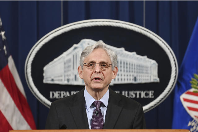 Attorney General Merrick Garland speaks at the Department of Justice in Washington Monday April 26 2021 The Justice Department is opening a sweeping probe into policing in Louisville after the March 2020 death of Breonna Taylor who was shot to death by police during a raid at her home Mandel NganPool via AP