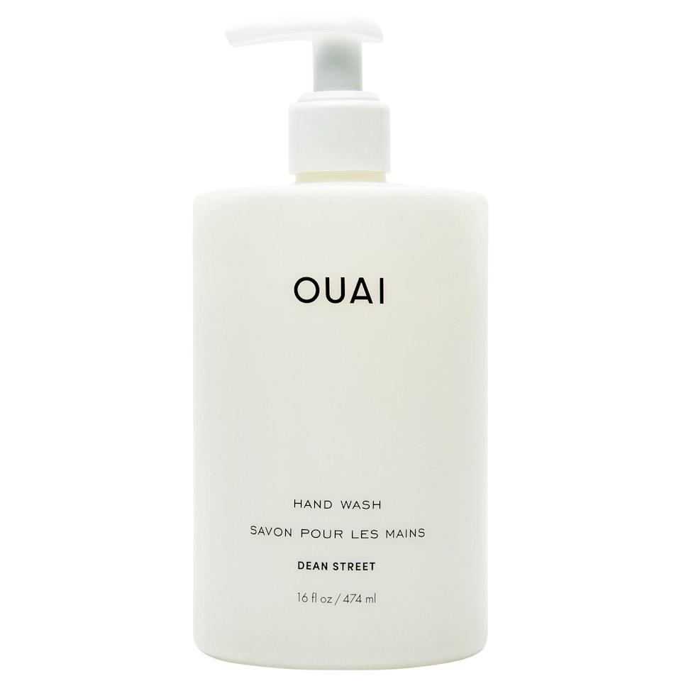 """<p><strong>OUAI Hand Wash</strong></p><p>sephora.com</p><p><strong>$32.00</strong></p><p><a href=""""https://go.redirectingat.com?id=74968X1596630&url=https%3A%2F%2Fwww.sephora.com%2Fproduct%2Fouai-haircare-hand-wash-P466426&sref=https%3A%2F%2Fwww.elle.com%2Fbeauty%2Fmakeup-skin-care%2Fg13968711%2Fbest-hand-soap%2F"""" rel=""""nofollow noopener"""" target=""""_blank"""" data-ylk=""""slk:Shop Now"""" class=""""link rapid-noclick-resp"""">Shop Now</a></p><p>The minimalist-chic design and super-oversized OUAI hand wash (and matching hand lotion) need you to Instagram them, stat. Scented in the brand's best-selling Dean Street fragrance (it's a fruity-floral), we bet this is what Chrissy Teigan uses to wash up after she tests something out for <em>Cravings: Hungry for More</em> </p>"""