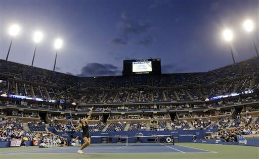 Maria Sharapova, of Russia, serves to Lourdes Dominguez Lino, of Spain, during a match at the U.S. Open tennis tournament, Wednesday, Aug. 29, 2012, in New York. (AP Photo/Darron Cummings)