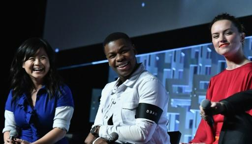"""The Last Jedi"" stars Kelly Marie Tran, John Boyega and Daisy Ridley -- shown at the Star Wars Celebration in April 2017 in Orlando, Florida -- have been the targets of abuse by male, white fans of the blockbuster space saga"