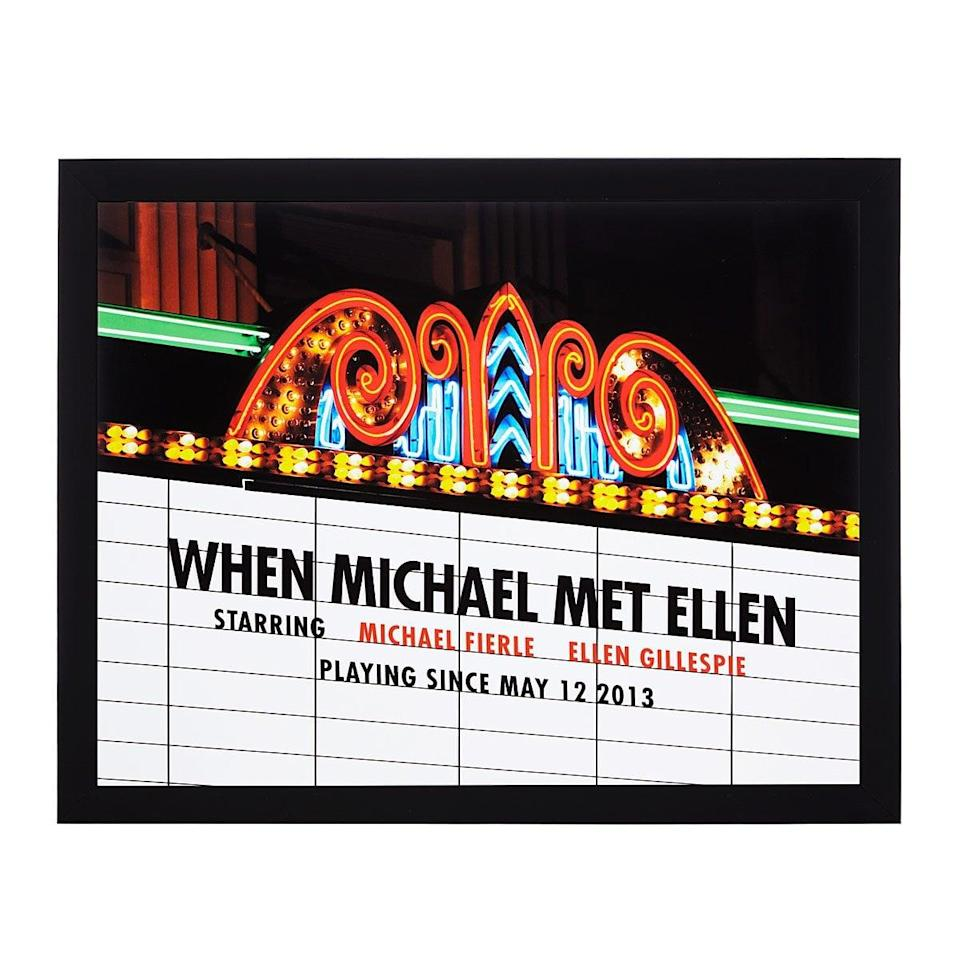 <p>This <span>Personalized Movie Marquee Photo Print</span> ($85 - $125) is such a sweet gift.</p>