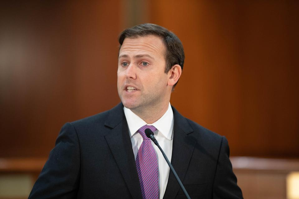 House Speaker Chris Sprowls speaks during a press conference held by Gov. Ron DeSantis with Sprowls and other lawmakers about taking on foreign interference at Florida's colleges and universities, with an emphasis on preventing China and other countries from stealing intellectual property at the Capitol Monday, March 1, 2021.