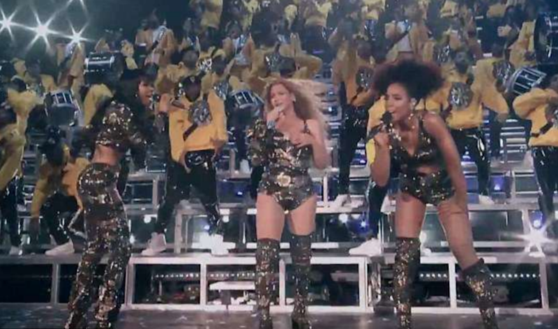 Beyoncé held onto her costume for several songs. Source: YouTube/Coachella