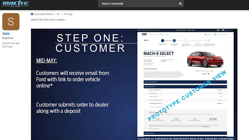 Mustang Mach-E Order Bank Screenshot