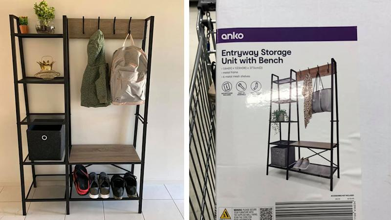 Kmart entryway storage unit with bench set up