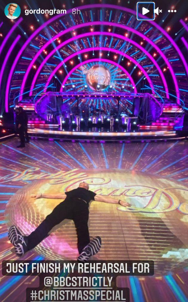 Gordon passed out on the Strictly dancefloor (Photo: Instagram)