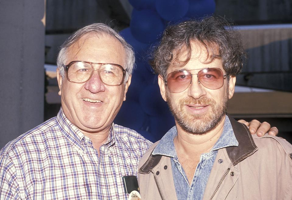 """LOS ANGELES - NOVEMBER 12:   Director Steven Spielberg and father Arnold Spielberg attend """"The Land Before Time"""" Los Angeles Premiere on November 12, 1988 at the Natural Museum of Los Angeles County in Los Angeles, California. (Photo by Ron Galella, Ltd./Ron Galella Collection via Getty Images)"""