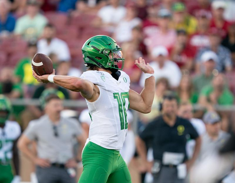 Oregon QB Justin Herbert could be a good possibility for the Cincinnati Bengals. (Getty Images).