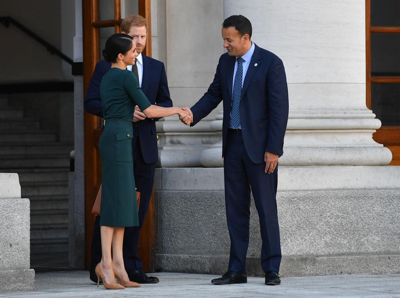 <p>Meeting the Taoiseach (Prime Minister) Leo Varadkar shortly after arriving in Dublin.</p>