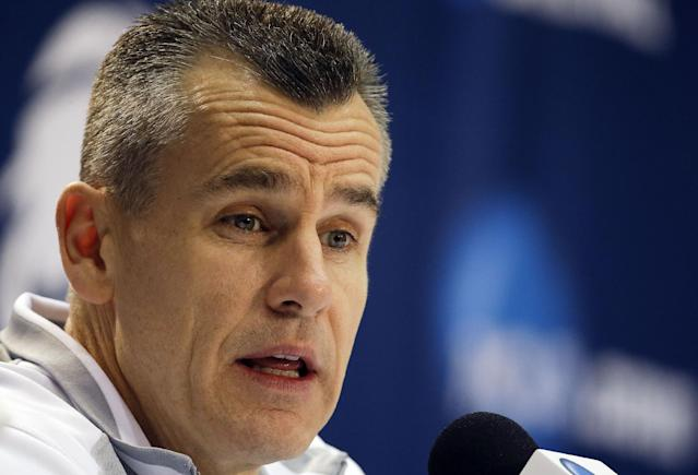 Florida head coach Billy Donovan speaks during a news conference Friday, March 28, 2014 in Memphis, Tenn. Florida will play Dayton Saturday in an NCAA college basketball tournament regional championship game. (AP Photo/Mark Humphrey)
