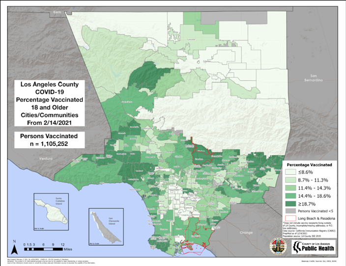 Map shows L.A. County with keys showing vaccine rates.