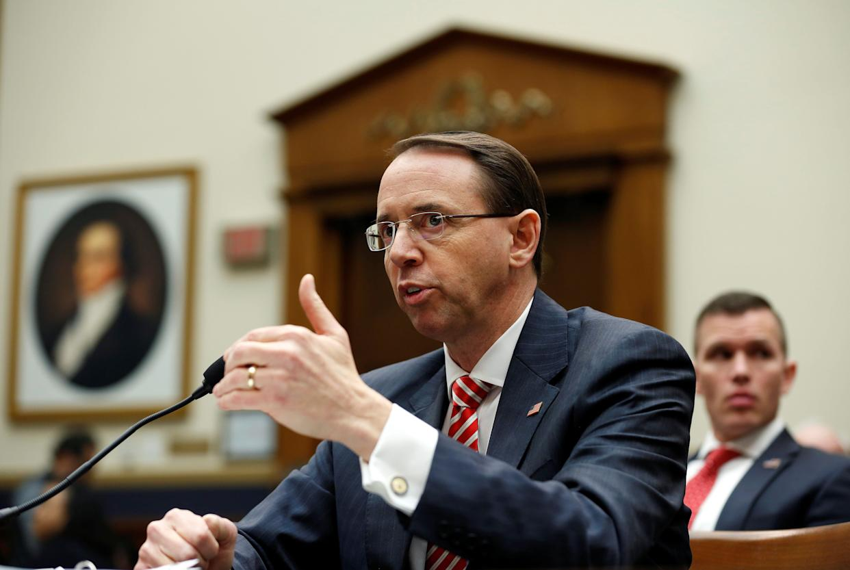 Deputy U.S. Attorney General Rod Rosenstein testifies to the House Judiciary Committeein December. A group of conservative congressmen has drafted articles of impeachment against him. (Photo: Joshua Roberts / Reuters)