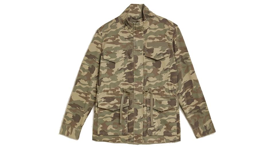 Cotton Camo High Neck Utility Jacket