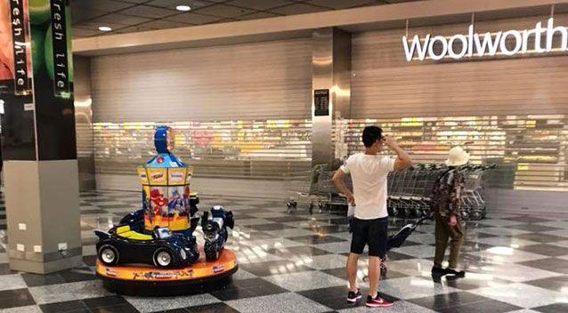 A Woolworths store purportedly in Bankstown with its doors shut during a nationwide outage. Source: Facebook