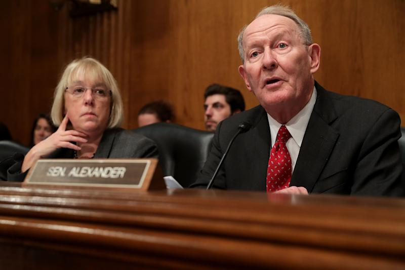 Sen. Lamar Alexander, right, with Sen. Patty Murray