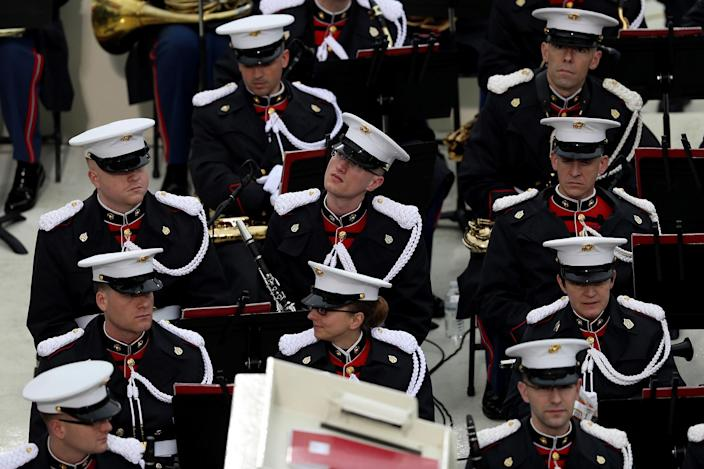<p>The Marine band sits on the West Front of the U.S. Capitol on January 20, 2017 in Washington, DC. (Photo: Joe Raedle/Getty Images) </p>