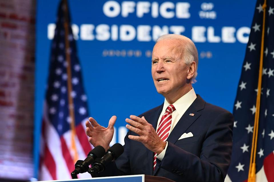 US President-elect Joe Biden speaking at a press conference in Delaware on Monday.